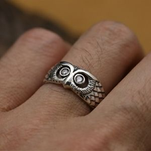 Vintage owl ring 925 silver